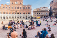 Piazza del Campo with Palazzo Pubblico in Siena Royalty Free Stock Photography