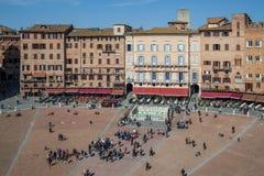 Piazza del Campo Siena Arkivfoton