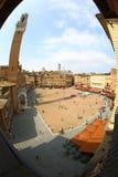 Piazza del Campo a Siena con il fish-eye Immagine Stock
