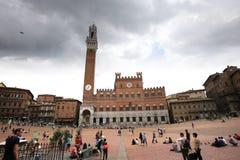 Piazza Del Campo, Siena, Italien Stockbild