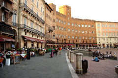 Piazza del Campo in Siena (Italy). Famous Piazza del Campo in the historic center of Siena, Tuscany, Italy. One of Europes greatest medieval squares and venue of Stock Image