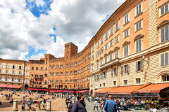 Piazza del Campo, Siena, Italy. Siena, Italy - MAY 4, 2017: View of `Piazza del Campo` main square in the city center of Siena, famous for its horse race and stock photo