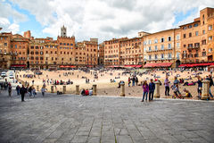 Piazza del Campo, Siena, Italy. Siena, Italy - MAY 4, 2017: View of `Piazza del Campo` main square in the city center of Siena, famous for its horse race and royalty free stock image