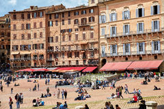 Piazza del Campo, Siena, Italy. Siena, Italy - MAY 4, 2017: View of `Piazza del Campo` main square in the city center of Siena, famous for its horse race and royalty free stock photos