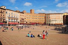 Piazza del Campo in Siena. Stock Photos