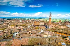 Piazza del Campo, Siena, Italy, Tuscany. View on main square over the roof in traditional italian style royalty free stock photos