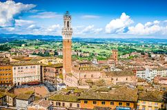 Piazza del Campo, Siena, Italy, Tuscany. View on main square over the roof in traditional italian style stock photos