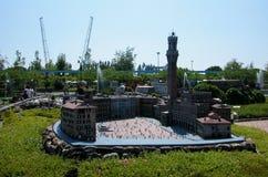 """Piazza del Campo Siena nel parco a tema """"Italia in miniatura """"Italia in miniatura Viserba, Rimini, Italia fotografie stock libere da diritti"""