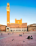 Piazza del Campo in Siena at sunset, Tuscany, Italy Stock Photos