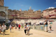 Piazza Del Campo Siena, Toskana, Italien Stockfoto