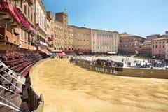 Piazza del Campo Siena, Tuscany, Italien Royaltyfria Foton