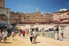 Piazza del Campo Siena, Tuscany, Italien Arkivfoto