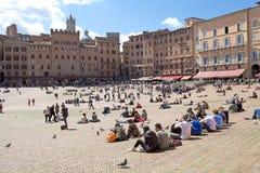 Piazza del campo, Siena, Tuscany, Italien Fotografering för Bildbyråer