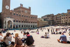 Piazza del campo Siena, Tuscany, Italien Royaltyfri Fotografi