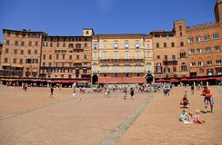 Piazza del Campo town square surrounded by historical buildings Royalty Free Stock Photos