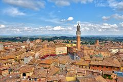 Piazza del campo, tuscan old city center of Siena, Italy Royalty Free Stock Images