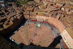 Piazza del Campo view from Torre del Mangia. Siena. Tuscany. Italy Stock Image