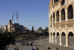 Piazza del Colosseo in Rome with people around Stock Photo
