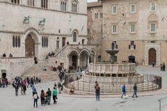 Piazza Del Comune w Assisi, mieście Umbria, średniowiecznym i antycznym fotografia stock