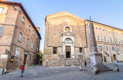 Piazza del Duca square and church in Urbino Stock Image