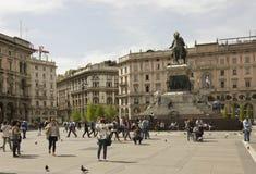 Piazza del Duomo广场在米兰 免版税库存图片