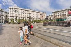 Piazza del Duomo,中心广场在米兰 免版税库存照片