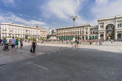 Piazza del Duomo,中心广场在米兰 免版税库存图片