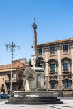 Piazza del Duomo in Catanië met het Olifantsstandbeeld, Sicilië Royalty-vrije Stock Foto