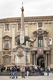 Piazza del Duomo in Catanië, Sicilië Italië Obelisk met olifant Royalty-vrije Stock Afbeeldingen