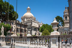 Piazza del Duomo in Catania and the Cathedral of Santa Agatha in Catania in Sicily, Italy Stock Photography
