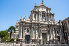 Piazza del Duomo in Catania and the Cathedral of Santa Agatha in Catania in Sicily, Italy Stock Images