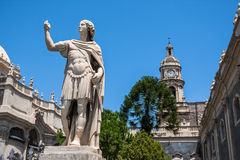 Piazza del Duomo in Catania and Cathedral of Santa Agatha in Catania in Sicily, Italy Stock Images