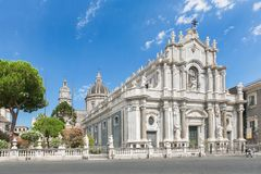 Piazza del Duomo in Catania with Cathedral of Santa Agatha in Catania in Sicily, Italy Stock Photography