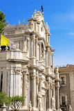 Piazza del Duomo in Catania with the Cathedral of Santa Agatha Royalty Free Stock Image