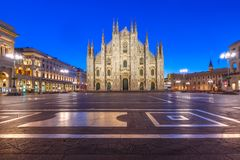 Night Piazza del Duomo in Milan, Italy royalty free stock photography