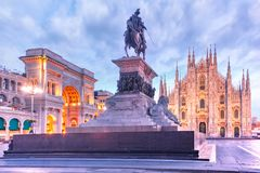 Night Piazza del Duomo in Milan, Italy Royalty Free Stock Photo
