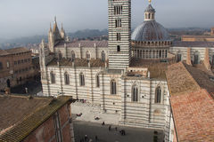 Piazza del Duomo di Siena. View from facciatone Tuscany. Italy. stock photo