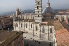 Piazza Del Duomo di Siena Widok od facciatone Tuscany Włochy zdjęcie stock