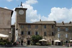 Piazza del Duomo en de klokketoren Orvieto, Terni - Italië Royalty-vrije Stock Afbeeldingen