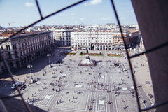 Piazza del Duomo. Equal to the center of Milan, the center of the square is the unification of the kingdom of Italy was the first king of the equestrian statue stock photo