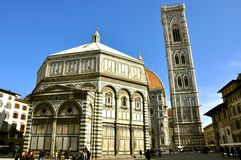 Iconic urban landscape: Piazza del Duomo in Florence, Italy royalty free stock photography