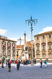 Piazza del Duomo and fountain U Liotru, Catania Stock Photo