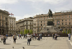 Piazza del Duomo fyrkant i Milan Royaltyfri Bild