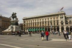 Piazza del Duomo fyrkant i Milan Arkivbild