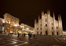 Piazza del Duomo la nuit Image libre de droits