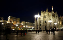 Piazza del Duomo in Milan, Italy at night Royalty Free Stock Photos