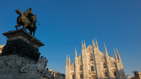 Piazza del Duomo, Milan. The statue of King Victor Emmanuel II of Italy at Piazza del Duomo, Milan stock photo