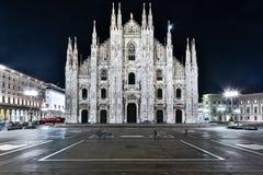 Piazza del Duomo, Milano. Milan Duomo facade by night stock photos