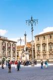 Piazza del Duomo och springbrunn U Liotru, Catania Arkivfoto