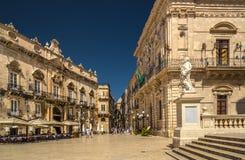 Piazza del Duomo, Ortigia. Piazza del Duomo Square in Ortigia, Syracuse, Sicily, Italy Stock Images